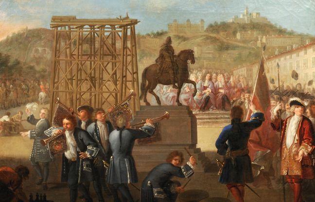 Une huile de Charles Grandon représentant la dépose de la statue de Louis XIV sur la place Bellecour.