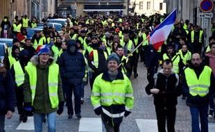 Plus de 320 «gilets jaunes» ont bravé l'interdiction de manifester à Nancy samedi. Photo prise lors d'un rassemblement du 19 janvier 2019.