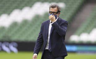 Fabien Galthié était ému après la victoire des Bleus en Irlande, le 14 février 2021.
