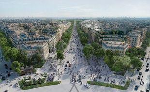 """L'avenue des Champs-Elysées vue depuis la place de l'Etoile, telle qu'imaginée par le projet """"Vision 2030""""."""