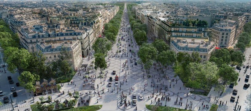 L'avenue des Champs-Elysées vue depuis la place de l'Etoile, telle qu'imaginée par le projet
