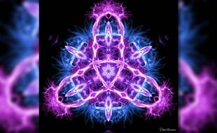 """Réalisée à partir d'une IRM des systèmes limbiques du cerveau,  """"Triquetra"""" s'inspire d'un symbole celte et païen du même nom."""