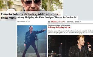 Captures d'écran de plusieurs sites étrangers relatant le décès de Johnny Hallyday, le 6 décembre 2017.