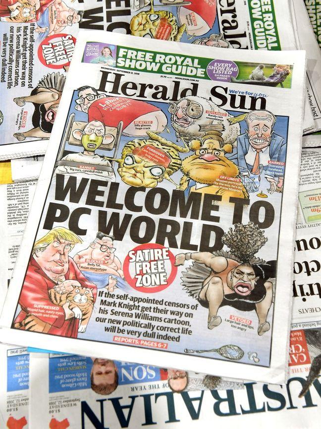 La une du «Herald Sun» du 12 septembre 2018 titrée «Bienvenue dans un monde politiquement correct», après la polémique sur la caricature de Serena Williams.