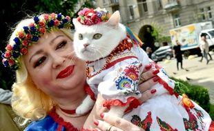 Un chat en habits traditionnels le 27 mai 2017 lors d'une marche pour la culture et les traditions ukrainiennes.