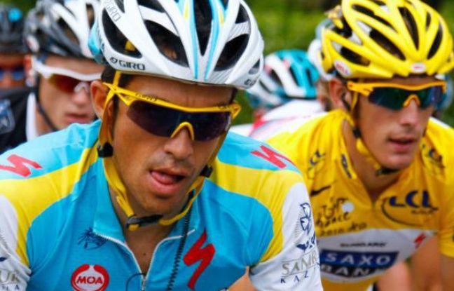 Alberto Contador et Andy Schleck, lors du Tour de france 2010.