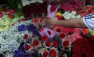 Une boutique de fleurs (illustration).