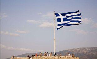 Le drapeau de la Grèce à Athènes en 2009.