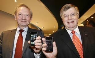 Le numéro 2 de France Telecom Louis-Pierre Wenes (à gauche) et Didier Lombard, le 28 novembre 2007.