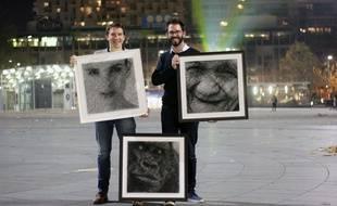 Anthony Chesneau et Julien Lecherbault ont créé des tableaux de string art.