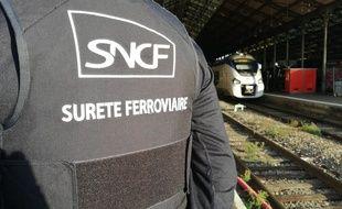 Un agent de la sûreté ferroviaire en appui d'une opération de contrôle en gare Matabiau, à Toulouse.
