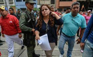 Iris Varela, ministre des Prisons (C), le 17 juin 2016 à Caracas