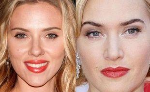 Scarlett Johansson et Kate Winslet maquillées.