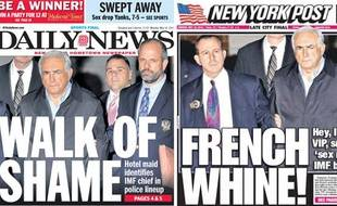 Les unes du New York Post et du New York Daily News du 16 mai 2001 sur l'affaire DSK.