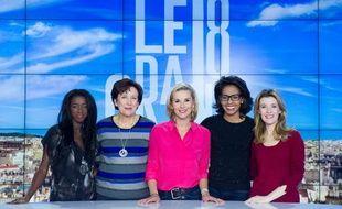"""Hapsatou Sy, Roselyne Bachelot, Laurence Ferrari, Audrey Pulvar et Elisabeth Bost, les cinq chroniqueuses du """"Grand 8"""", émission diffusée du lundi au vendredi à 10h50 sur D8."""