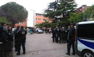 Le 10 mai 2017, lors de l'évacuation du squat des Arènes, à Toulouse.