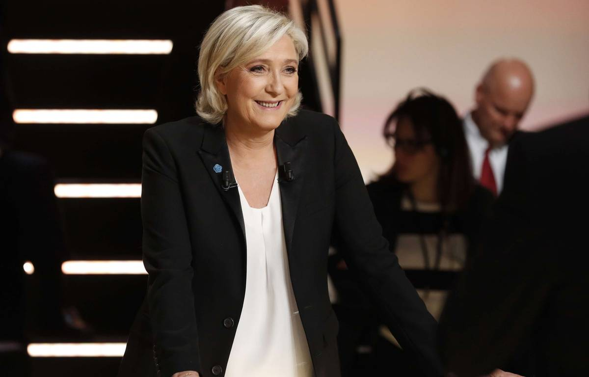 Marine Le Pen, lors du 1er débat de la présidentielle, mardi 21 mars. – Patrick Kovarik/AP/SIPA