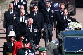 Les princes Harry, Charles et William aux funérailles du prince Philip