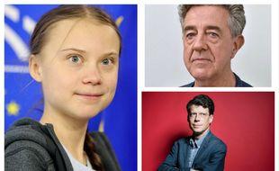 De gauche à droite et de haut en bas, Greta Thunberg, Yves Cochet et Laurent Alexandre