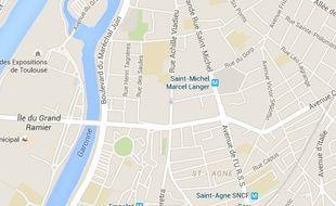 Carte de localisation de la grand-rue Saint-Michel et de l'avenue de l'URSS, à Toulouse.
