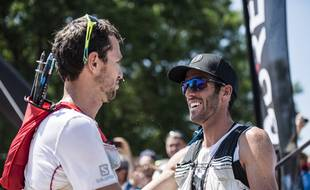 Michel Lanne (à droite), ici aux côtés de son coéquipier chez Salomon François D'Haene, après la Maxi-Race d'Annecy (83 km) en 2017.