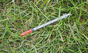Une seringue dans un parc (illustration)