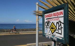 Une pancarte mettant en garde contre les requins apposé le long de la plage de l' Etang Salé à la Réunion
