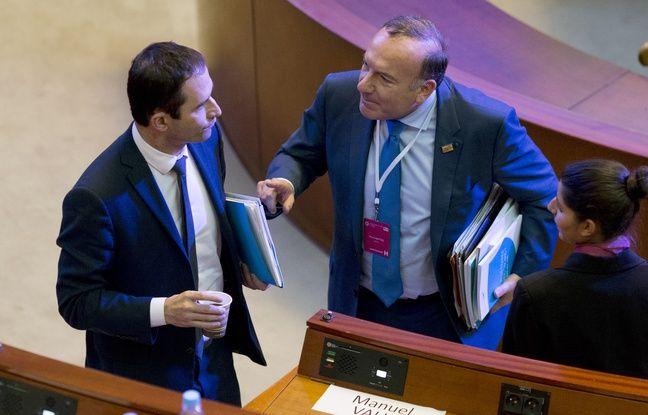 Benoît Hamon et Pierre Gattaz le 7 juillet 2014.