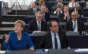 Ici au Parlement européen de Strasbourg, Angela Merkel et François Hollande pourraient venir tester le prolongement du tram D de l'autre côté du Rhin.