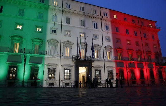 648x415 la facade du palais chigi a rome siege du gouvernement italien illuminee du drapeau tricolore le 19
