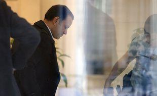 Paris, le 09 octobre 2015. Franck Attal, l'un des dirigeants de Bygmalion arrive au pôle financier du parquet de Paris pour être interrogé sur le dépassement du compte de campagne de Nicolas Sarkozy.