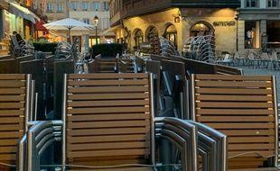 Illustration. Une terrasse de café place de la cathédrale à Strasbourg. Le 22 octobre 2020.