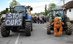 Une manifestation d'éleveurs en colère à Pau, contre la réintroduction de deux ourses dans le Béarn, le 30 avril 2018.
