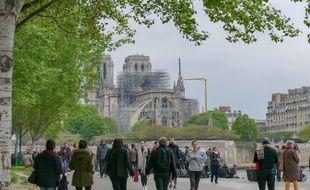 La cathédrale Notre-Dame de Paris au lendemain de l'incendie, le 17 avril 2019.