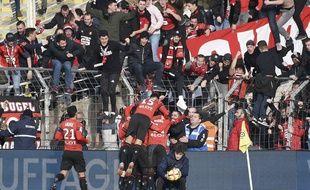 Le parcage rennais lors du derby face au FC Nantes, le 13 janvier à la Beaujoire.