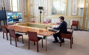 Visioconférence d'Emmanuel Macron avec les membres du G7 (Archives)