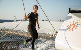 Thomas Coville à bord de son bateau avant le départ de la Route du Rhum 2018.