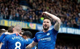 Olivier Giroud a marqué lors de la victoire de Chelsea contre Tottenham, le 22 février 2020.
