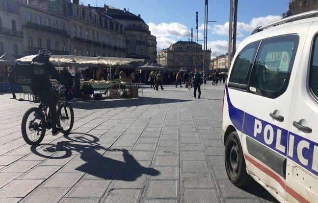 Une voiture de la police nationale, sur la place de la Comédie, à Montpellier (illustration)