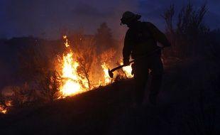 Le lieutenant Scott Coulson tente de maîtriser l'incendie dans les collines de la ville d'Omak, situé dans l'Etat de Washington (Etats-Unis)