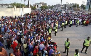 Manifestation à Mogadiscio après l'attentat meurtrier du 14 octobre 2017.