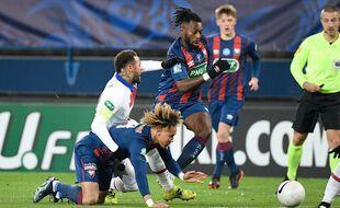 Neymar lors de Caen-PSG en 32e de finale de Coupe de France, le 10 février 2021.