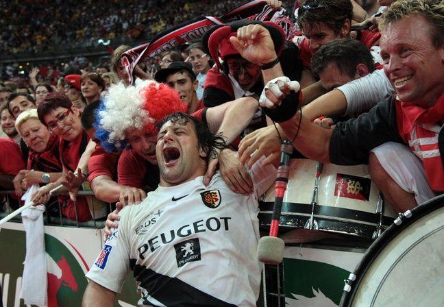 La joie d'Omar Hasan après le titre de champion de France du Stade Toulousain, lors du dernier match de sa carrière, le 28 juin 2008 au Stade de France.