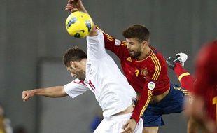 Le défenseur de l'Espagne Piqué, face à la Géorgie, le 11 septembre 2012