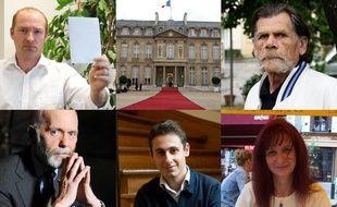 Stéphane Guyot et Robert Baud (en haut, à g. et à dr.), Renaud Camus, Maxime Verner et Brigitte Goldberg (en bas, de g. à dr.), candidats à la présidentielle 2012.
