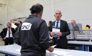 Le patron de la SNCF Guillaume Pepy vendredi 24 avril à Rennes pour inaugurer le nouveau technicentre.