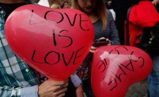 Des militants pour les droits des homosexuels, le 5 octobre 2014 en Italie.