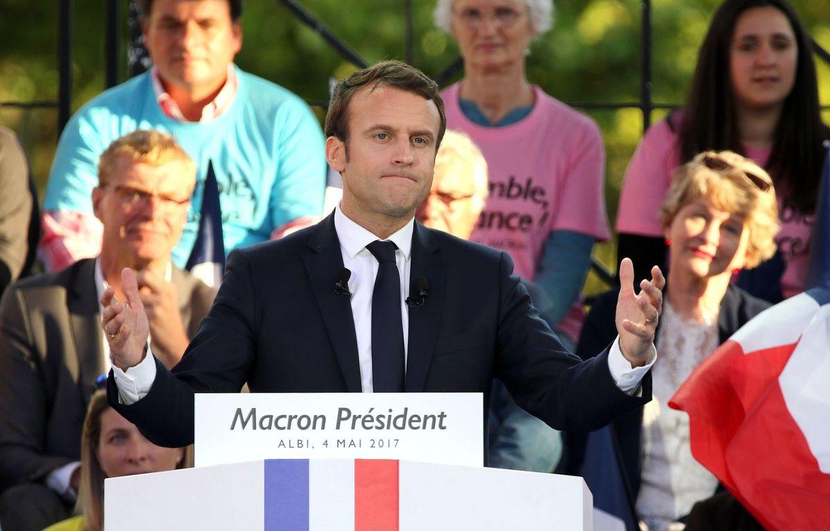 Emmanuel Macron lors de son dernier meeting public à Albi, le 4 mai 2017.  –  Jean-Marc Haedrich/SIPA