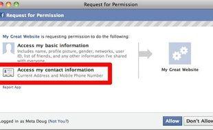 Une fenêtre Facebook affichée lors de l'installation d'une application