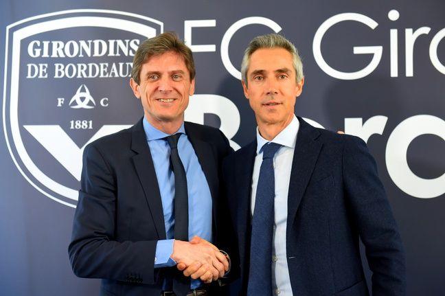 Paulo Sousa avec Frédéric Longuépée, le président des Girondins de Bordeaux.